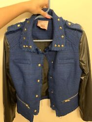 Blue And Black Leather Jacket By Romeo And Juliet Couture Dm Before Purchase