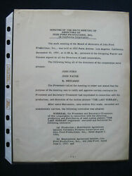 Original Typed Minutes Signed By Director John Ford, Re The Last Hurrah Film