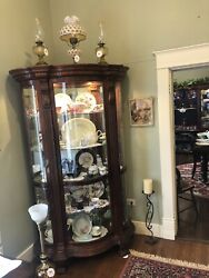 Large Glass Bow Front China Cabnit Side Doors Lighted Walnut Finish Great Con