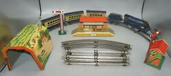 1950's Mettoy/wells-brimtoy O-gauge Wind-up Tin Litho Train Set Stations Tunnel