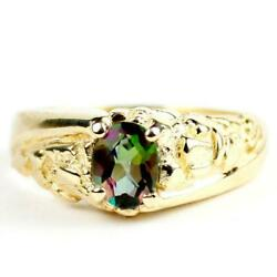 10k 14k Or 18k Gold Menand039s Nugget Ring Mystic Fire Topaz R368