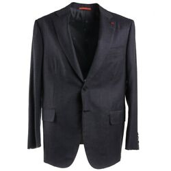 Nwt 4195 Isaia Charcoal Gray 'flannel Comfort' Wool Suit 44s Nuova Base S