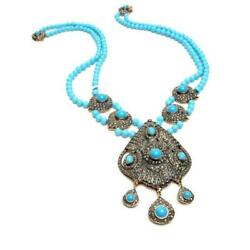 18k Gold 925 Silver Natural Diamond And Turquoise Beaded Vintage Look Necklace