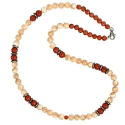 925 Sterling Silver Natural Pearl Carved Agate Jasper And Diamond Beads Necklace