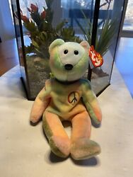 Ty Beanie Baby Peace. Retired. Rare. Tag Errors. Tag Protector. Stamp 115. 1996