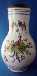18c Faience Pottery Stein Flagon Hand Painted Continental European