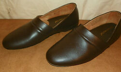 Mens Brown Leather Slippers Vermont Country Store Classic Design  Runs Small 8M