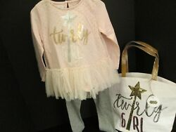 Sequin Tunic and Legging Set Size 5T and Matching Tote Mud Pie NWT