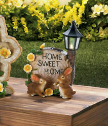 bunny Rabbit welcome yard sign outdoor statue LED path SOLAR powered light lamp