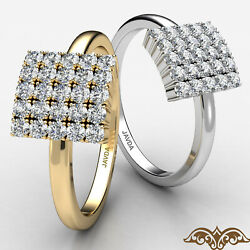 Square Cluster Round Diamond Prong Set Womenand039s Fashion Diamond Gold Ring 0.31 Ct