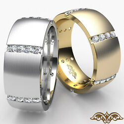 Matte Menand039s Dome Eternity Channel Round Diamond Wedding Band Gold Ring 0.70ct
