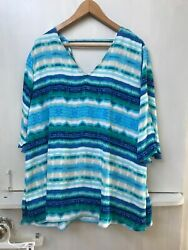 Chicos 3 Women's Large Striped Blouse Blue White Open Sleeve V Neck Shirt Top