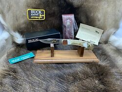 Buck 110 Knife With Elk Handles And 24kt Gold Cut-out And Leather Sheath - Mint Box