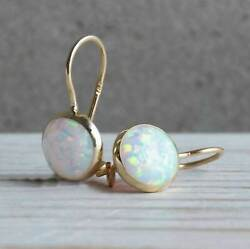 2.00ct Round Cut White Fire Opal Drop And Dangle Earring 14k Yellow Gold Finish