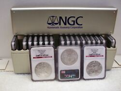 18 2003 1 2002 First Strike Ngc Ms 69 Silver Eagle Dollars In Box