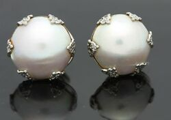 Antique Vintage Pearl Stud Earrings White Gold Victorian Era Old Jewelry
