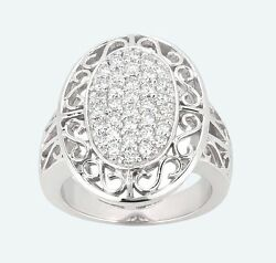 1.00ct Carat 14k White Gold Diamond Fancy Ring E Color Si1 Clarity New Jewelry