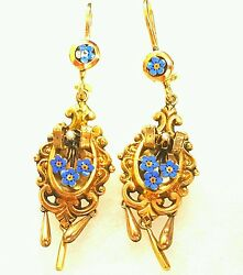 14k Gold And Silver Handmade Retro Vintage Jewelry Set,earrings And Pin Brooch