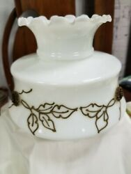 Vintage Ruffle Fluted Top Applied Gold Bronze Floral Gone Wind Lamp Shade Oil