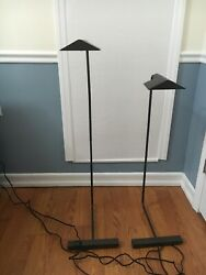 Pair of Black Authentic Cedric Hartman Reading Floor Lamps Signed And Numbered