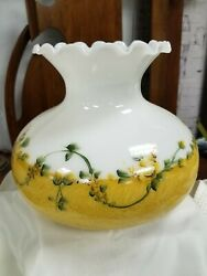 Vintage Glass Lamp Shade Crimped Ruffle Top Milk Glass Flowers Floral Roses Nos