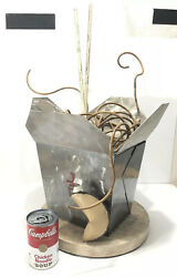 Metal Pop Art Statue Chinese Food Restaurant Take Out Container Fortune Cookie