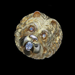 Antique Victorian Brooch 14k Gold Diamonds Dog Chow Chow Scottie Terrier (4147)