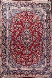 Antique Traditional Floral Signed Yaazd Area Rug Hand-made Red Living Room 10x13