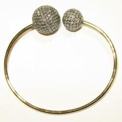 Solid 18k Yellow Gold Wire Pave Diamond Ball Cuff Bracelet Party Wear Jewelry