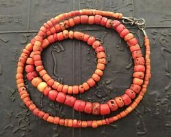 Vintage Coral Necklace Tibet Nepal Red 63.1 Grams 29.5 Graduated