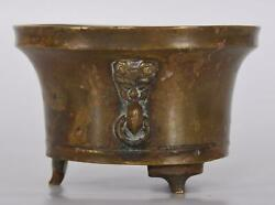 Chinese Bronze Tripod Censer Or Incense Burner Faux Lion Handles Ming Or Qing
