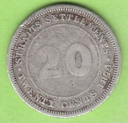 Straits Settlements 20 Cents 1874 H Seltener Year Nswleipzig