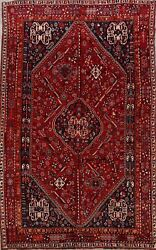 Vintage Abadeh Geometric Nomad Area Rug 7x11 Hand-knotted Tribal Oriental Carpet