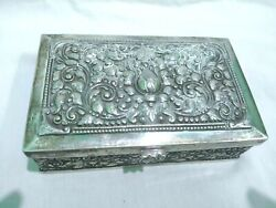Cigar Silver Box. Molded Ornaments In Indian Style. Indonesia 20th Century