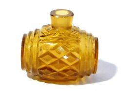Victorian Amber Cut Facetted Glass Barrel Ink Or Scent Perfume Bottle