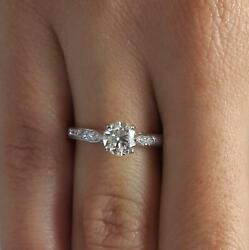1.75 Ct Pave 4 Prong Round Cut Diamond Engagement Ring Vs1 G White Gold 18k