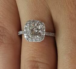 2 Ct Pave Halo Cushion Cut Diamond Engagement Ring Si2 D White Gold 14k