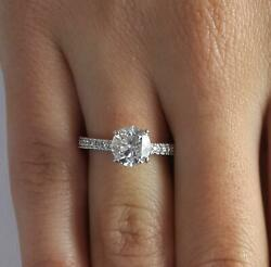 1.3 Ct Pave 4 Prong Round Cut Diamond Engagement Ring Vs1 D White Gold 14k