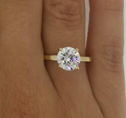 1.5 Ct Classic 4 Prong Round Cut Diamond Engagement Ring Si1 G Yellow Gold 14k