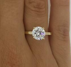 1.25 Ct Classic 4 Prong Round Cut Diamond Engagement Ring Si1 F Yellow Gold 14k
