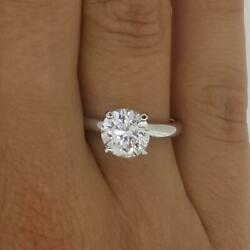 1.5 Ct 4 Prong Solitaire Round Cut Diamond Engagement Ring Vs2 D White Gold 14k
