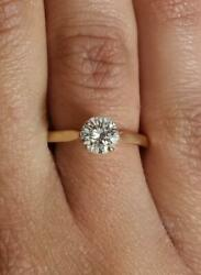 1 Ct Cathedral 4 Prong Round Cut Diamond Engagement Ring Si2 H Yellow Gold 14k