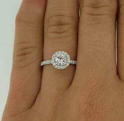 1.3 Ct Pave Halo Round Cut Diamond Engagement Ring Vs1 D White Gold 18k
