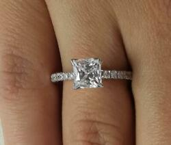 1.5 Ct Cathedral Pave Princess Cut Diamond Engagement Ring Vs2 H White Gold 18k