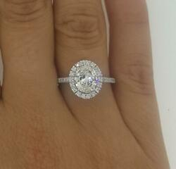 1.65 Ct Pave Cathedral Oval Cut Diamond Engagement Ring Si2 F White Gold 14k