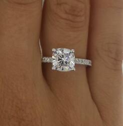 1.6 Ct Pave 4 Prong Cushion Cut Diamond Engagement Ring Si1 D White Gold 18k