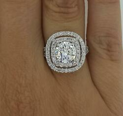3 Ct Double Halo Pave Round Cut Diamond Engagement Ring Si2 G White Gold 14k