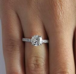1.8 Ct Pave 4 Prong Round Cut Diamond Engagement Ring Vs2 F White Gold 18k