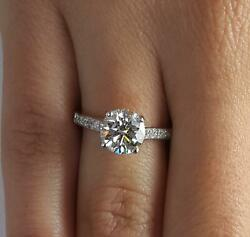 2.5 Ct Pave 4 Prong Round Cut Diamond Engagement Ring Vs2 D White Gold 14k