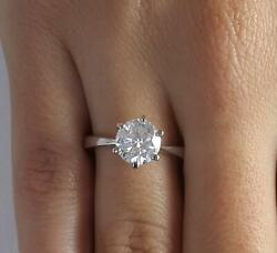 1.5 Ct Classic 6 Prong Round Cut Diamond Engagement Ring Si1 G White Gold 14k